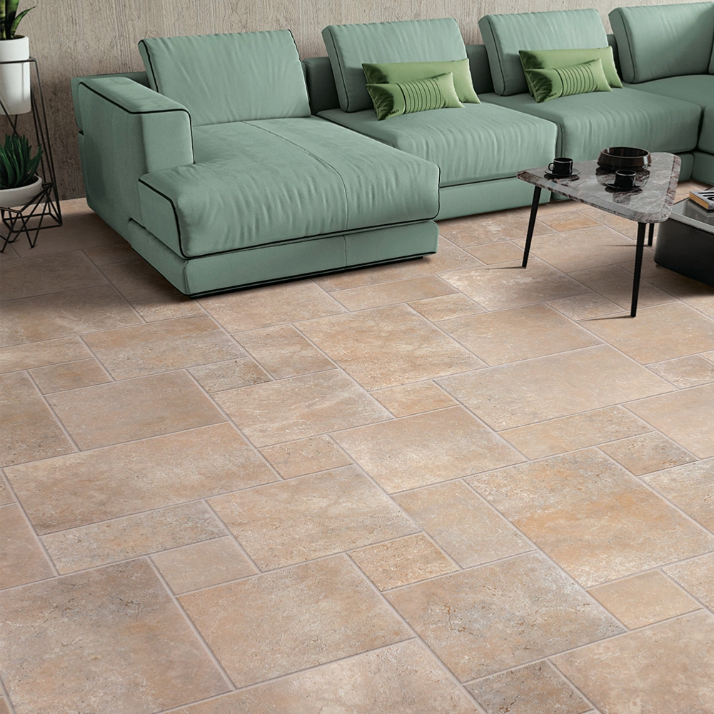 Carrelage effet pierre travertin 40x60,8 Beige Naturel, collection Provence EXE - Stock CER'AFFAIRES