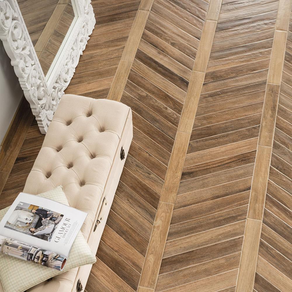 Carreaux De Ciment Parquet Bois carrelage sol imitation bois chevron 7,5x40,7 brune naturel, collection  vintage rondine