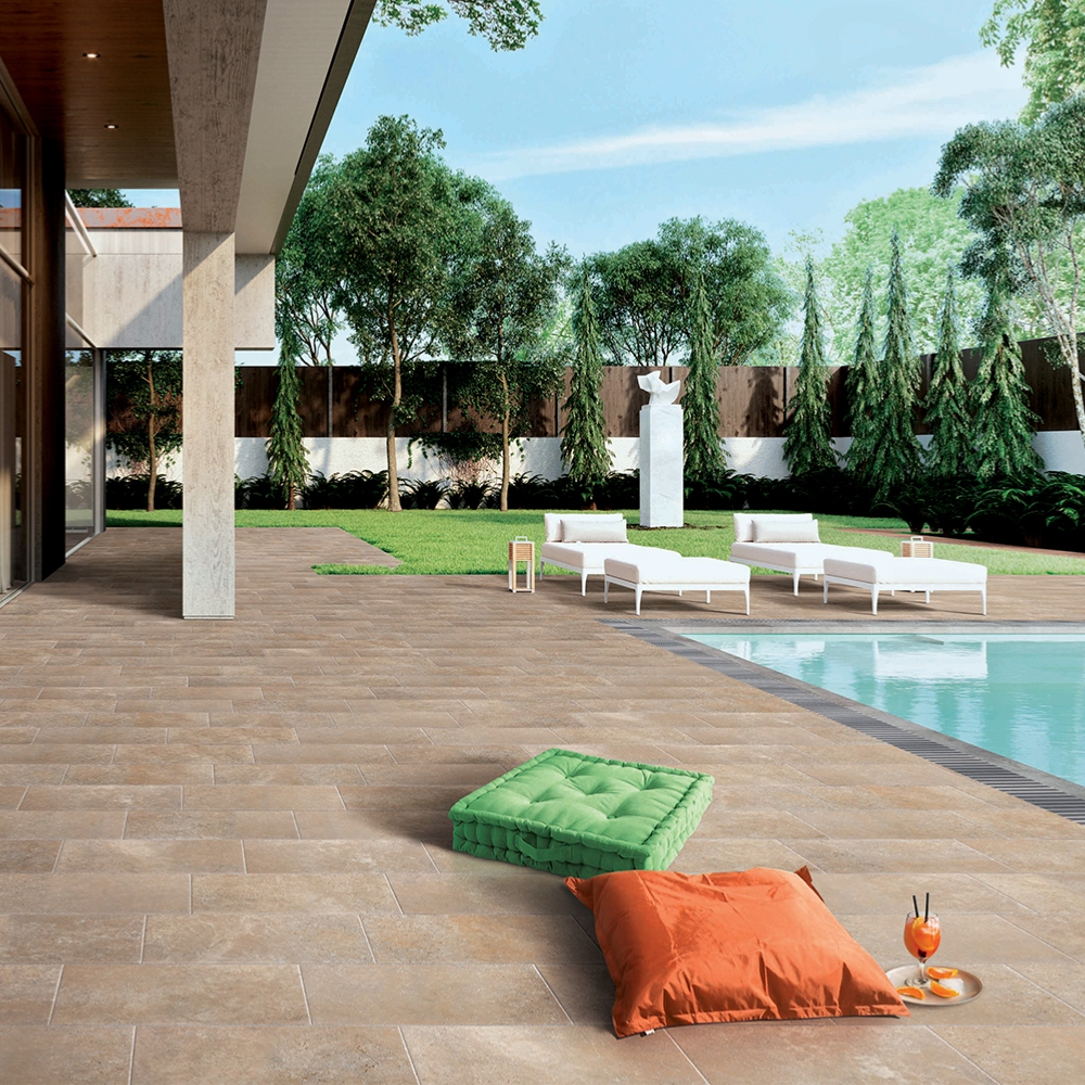 Carrelage terrasse effet pierre travertin 40x60,8 Beige Grip Nat, Provence EXE - Stock CER'AFFAIRES