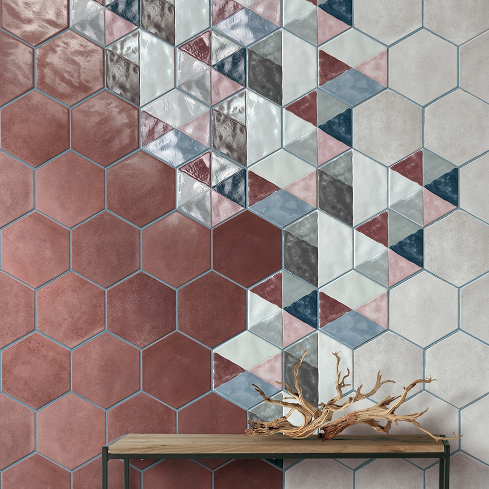Carrelage hexagonal effet carreau de ciment 24x27,7 Inserto Rainbow Mix Satiné, Materia Prima Cir