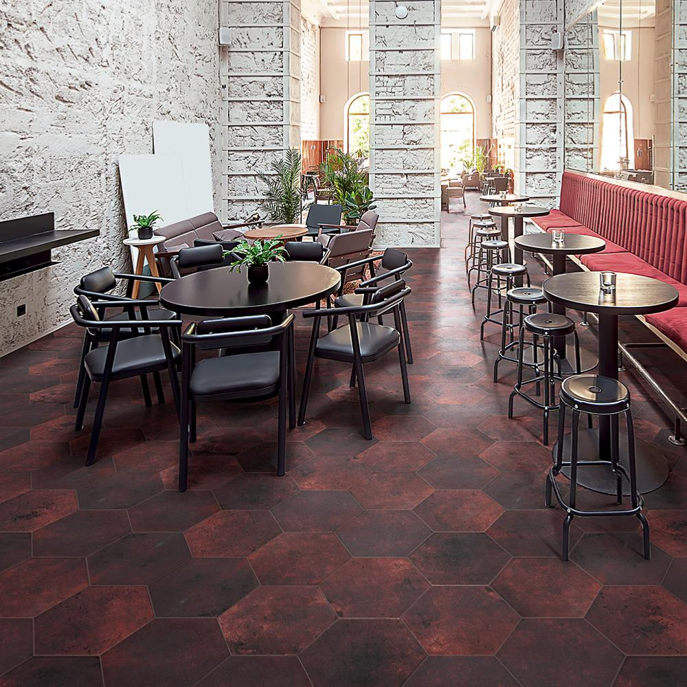 Carrelage sol hexagonal effet carreaux de ciment 24x27,7 Red Clay Naturel, collection Miami Cir