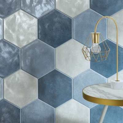 carrelage hexagonal effet terre cuite emaillee 24x27 7 navy sea satine naturel materia prima cir