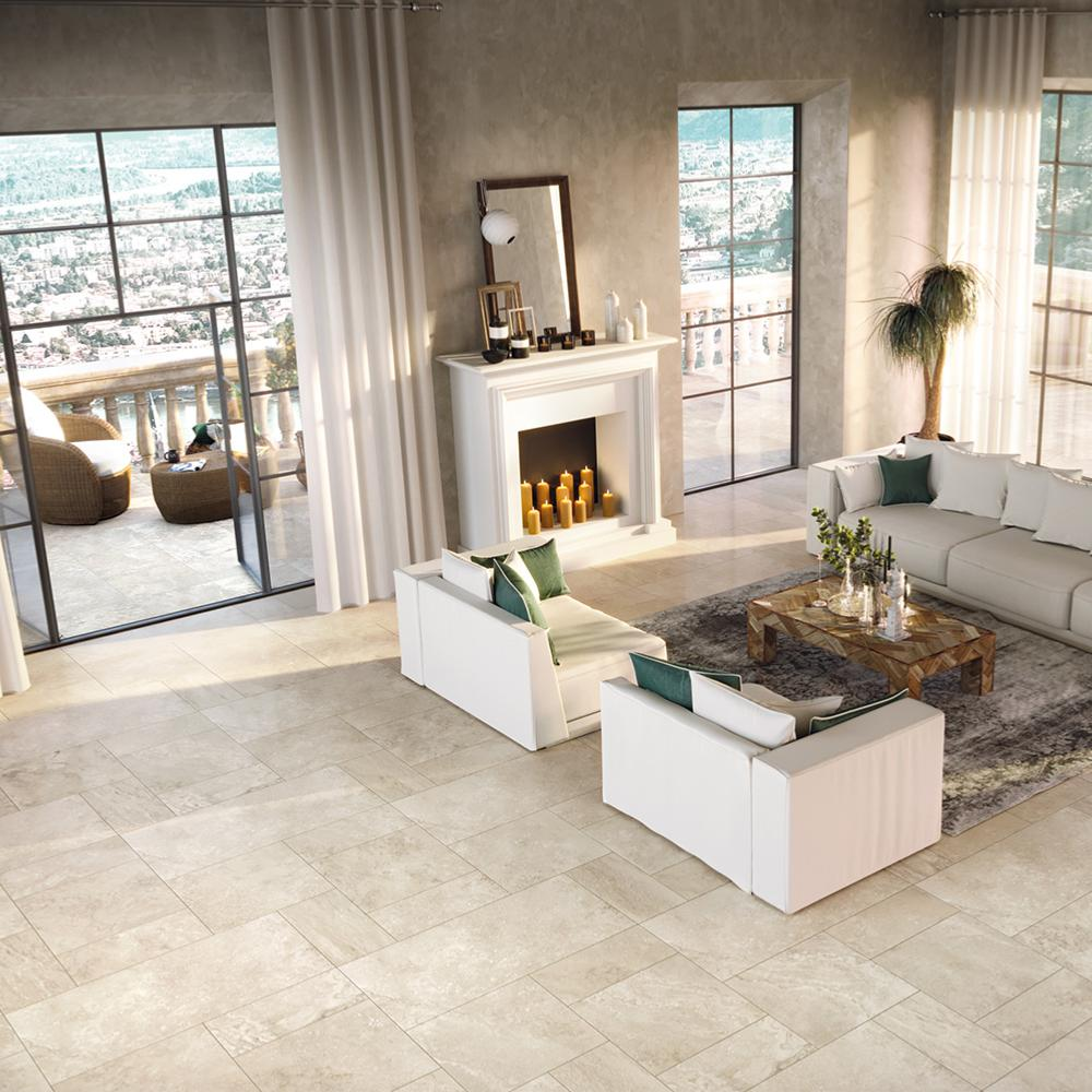 Carrelage sol imitation pierre 60x60 Travertin Beige Naturel Rect, collection Tradition Monocibec