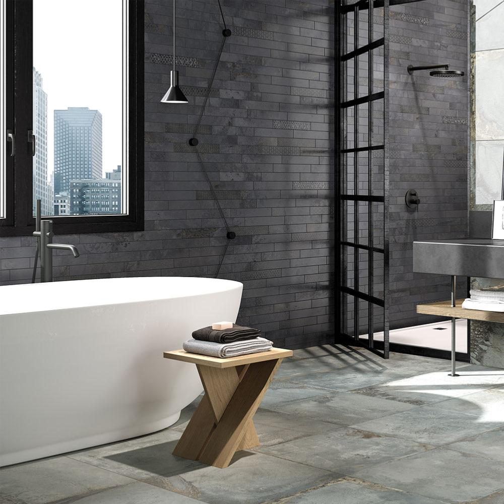 Salle De Bain Metal décor parement effet métal 6,1x37 dark reactive mix, collection oxyd rondine