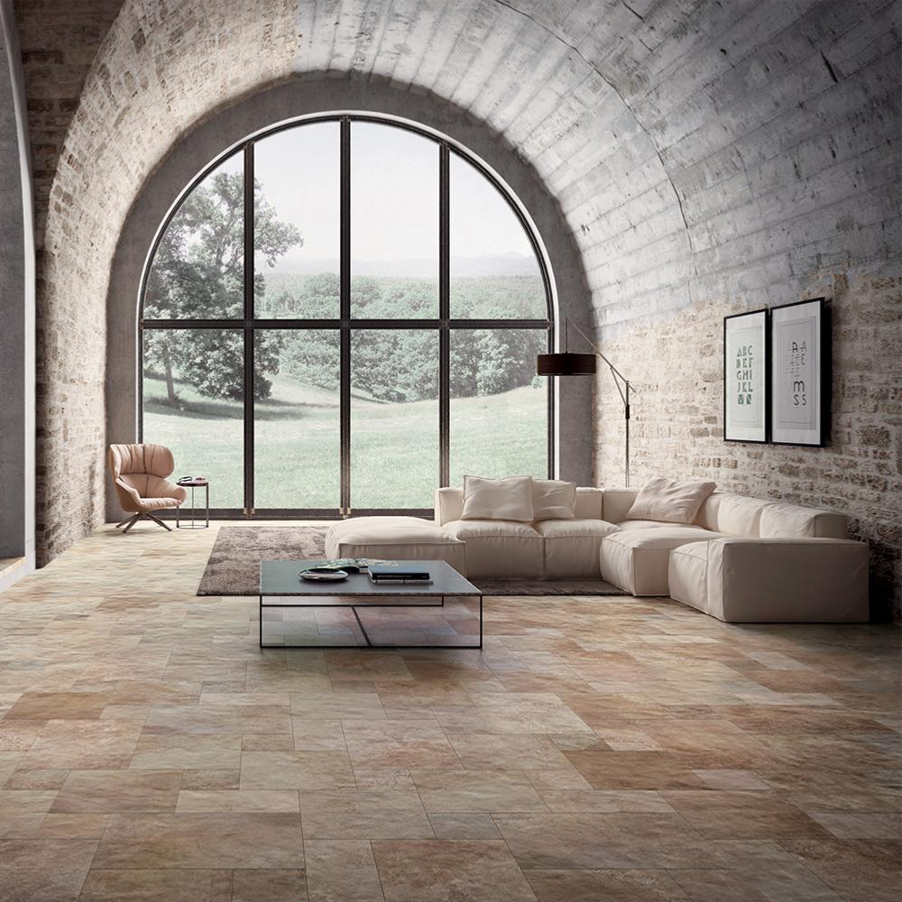 Carrelage sol effet pierre 40x40 Terra D'ormeggio Naturel, collection Molo Audace Cir
