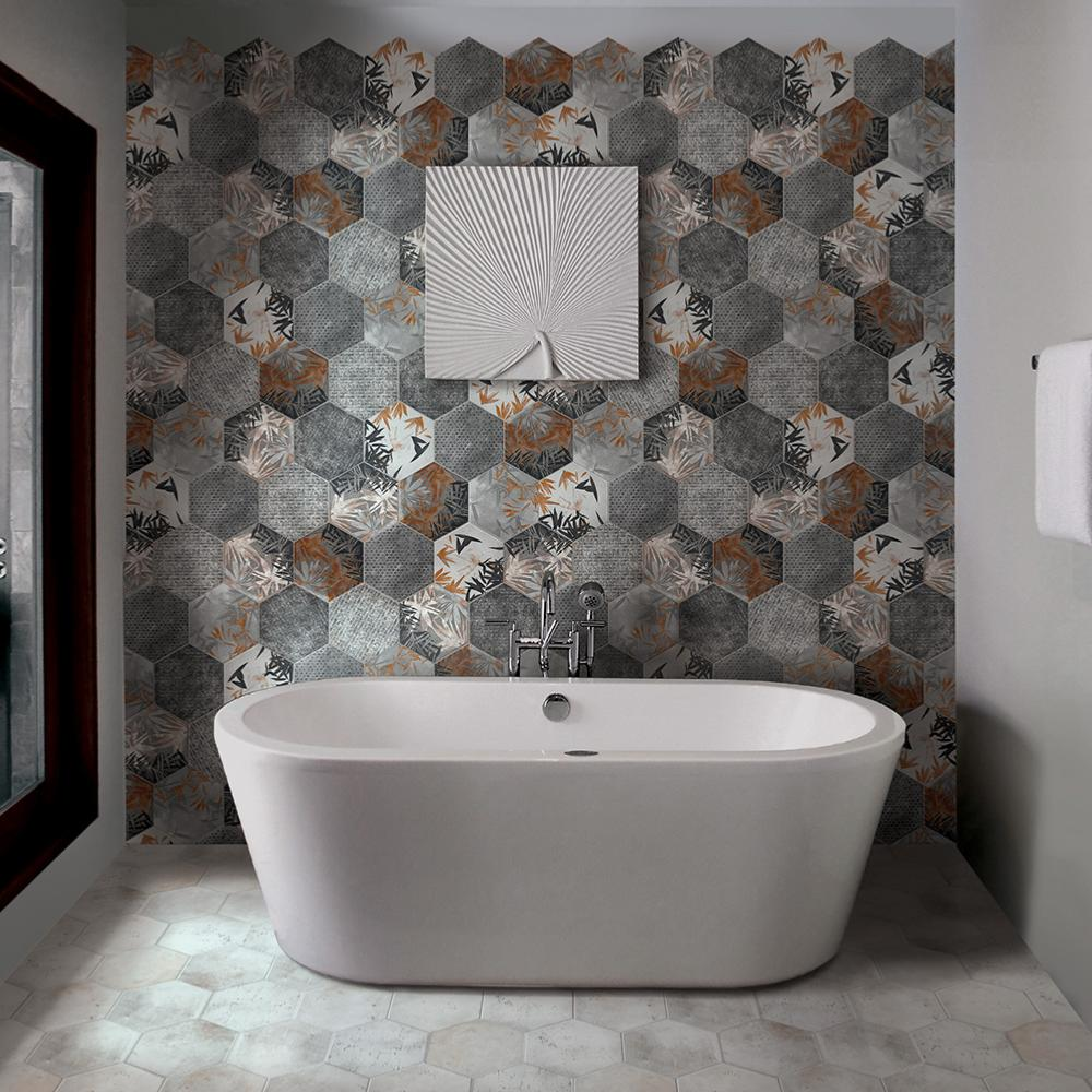 Carrelage hexagonal imitation carreaux de ciment 24x27,7 Florida Grey Naturel, collection Miami Cir