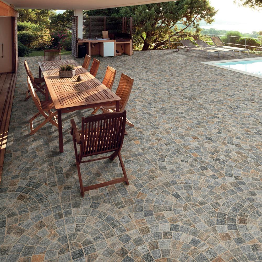 Carrelage terrasse effet pavé 60,5x60,5 Multicolor Arco Grip Naturel, collection Emilia Rondine