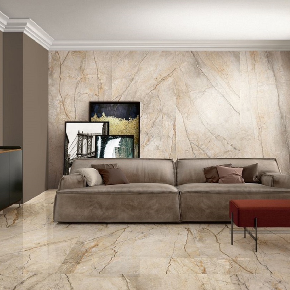 Carrelage imitation marbre 60x120 San PE6 Naturel Rectifié, The Room Imola - Stock CER'AFFAIRES