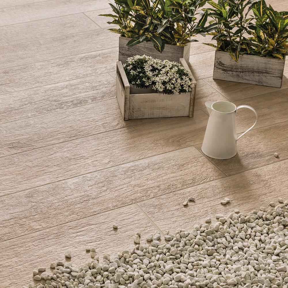 Carrelage extérieur imitation bois parquet 24x120 Beige Grip Naturel, collection Greenwood Rondine
