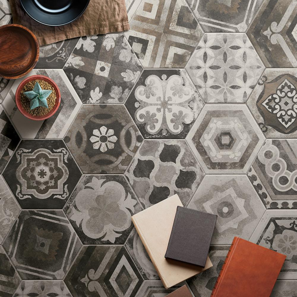 Carrelage hexagonal imitation carreaux de ciment 24x27,7 Miami Mix Naturel, collection Miami Cir