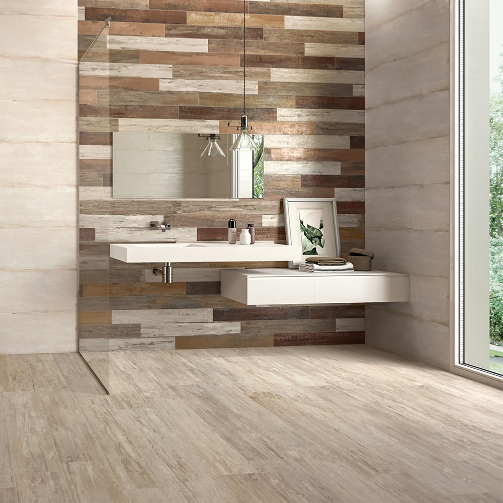Carrelage sol salle de bain imitaiton bois 20x100 style - Carrelage salle de bain imitation bois ...