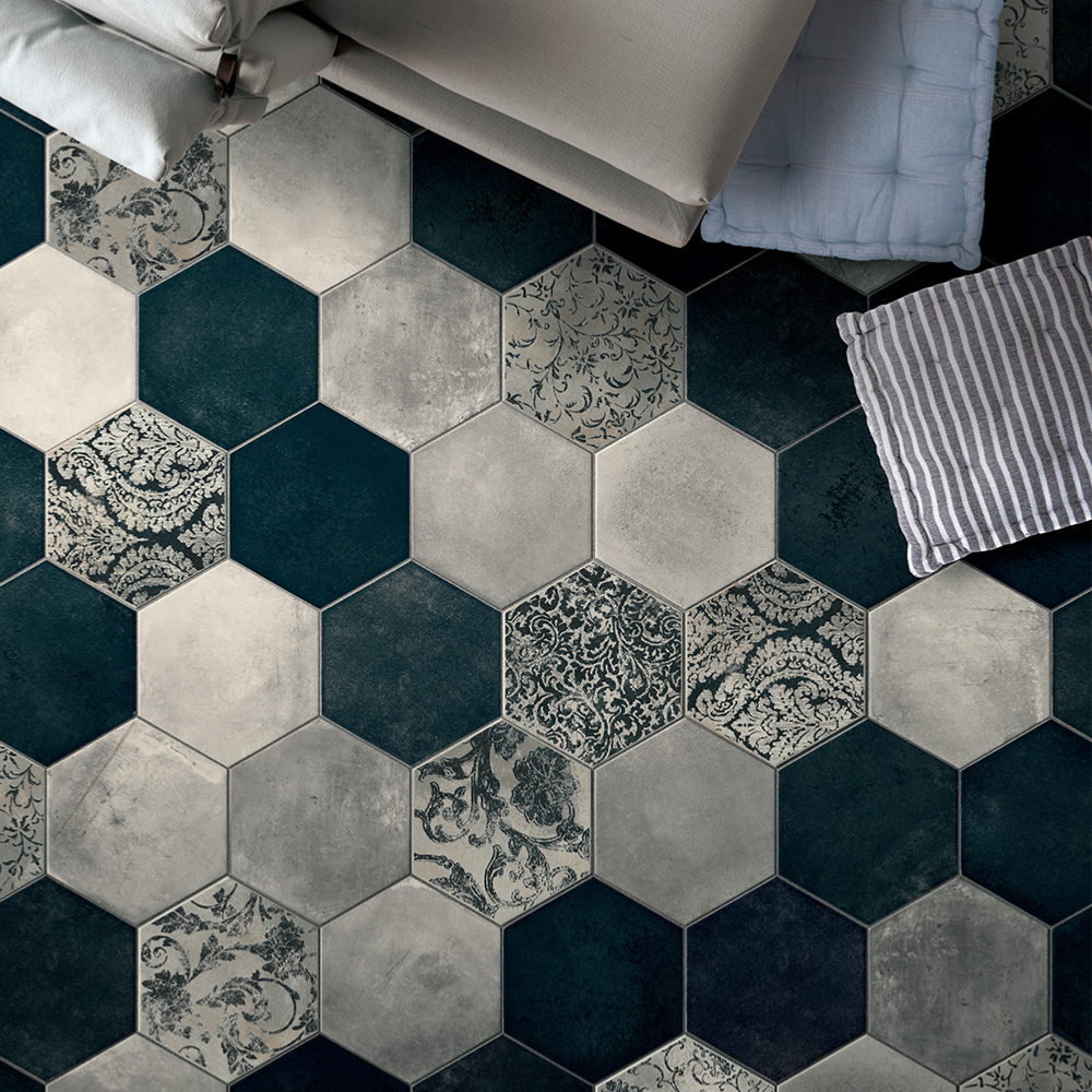 Carrelage hexagonal imitation carreaux de ciment 24x27,7 Collins Blue Naturel, collection Miami Cir
