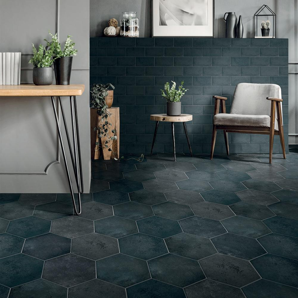 Carrelage sol hexagonal effet carreaux de ciment 24x27,7 Green Blue Naturel, collection Miami Cir