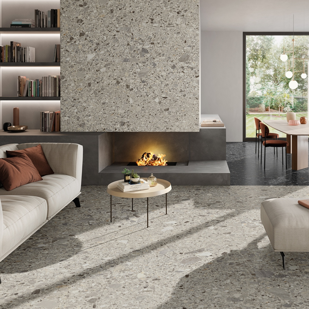 Carrelage imitation granit terrazzo 60x60 Salar Naturel Rectifié, collection Chiaroscuro Monocibec