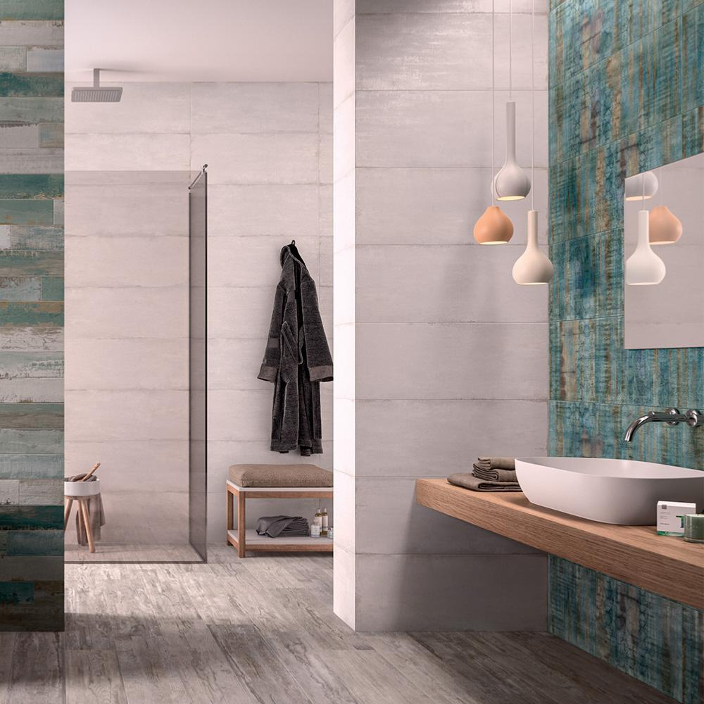 Carrelage mural fa ence salle de bain 32x80 5 cement - Prix pose carrelage mural salle de bain ...