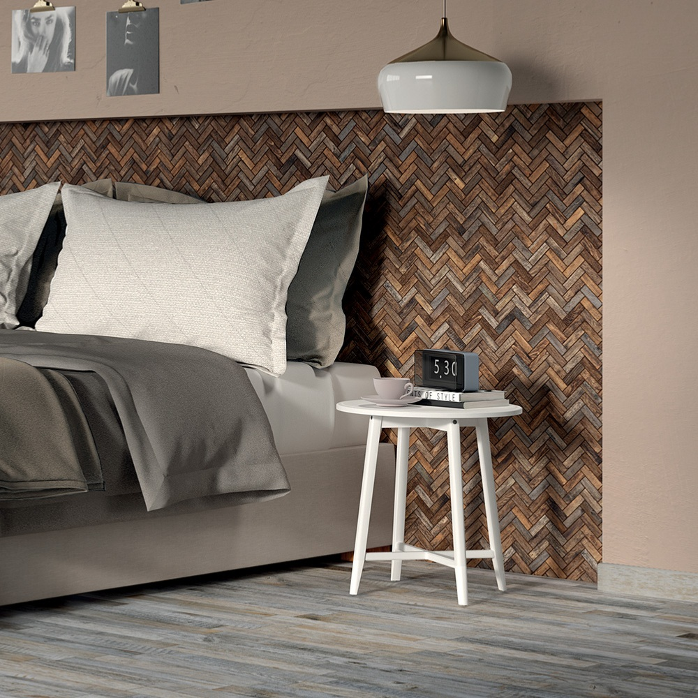 Mosaïque chevron effet bois 32x28,5 Caramel Spina Naturel, collection Inwood Rondine