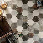 Carrelage sol hexagonal effet carreaux de ciment 24x27,7 Dust Grey Naturel, collection Miami Cir