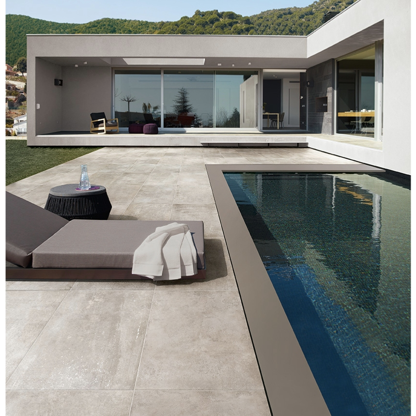 Carrelage ext rieur effet pierre b ton 45 5x91 grigio out for Carreler terrasse beton