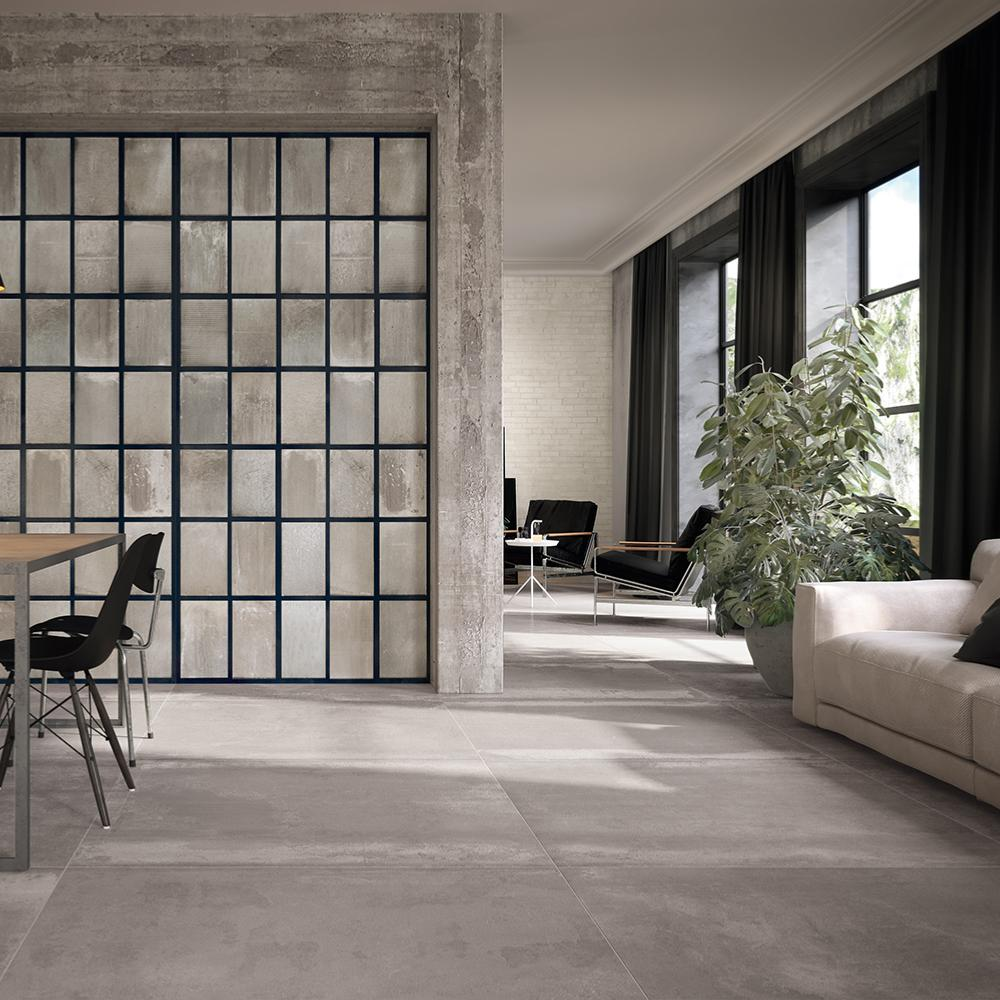 Deco Carrelage Salon Sejour carrelage intérieur effet métal 60x60 g acier lisse rectifié, collection  tube imola