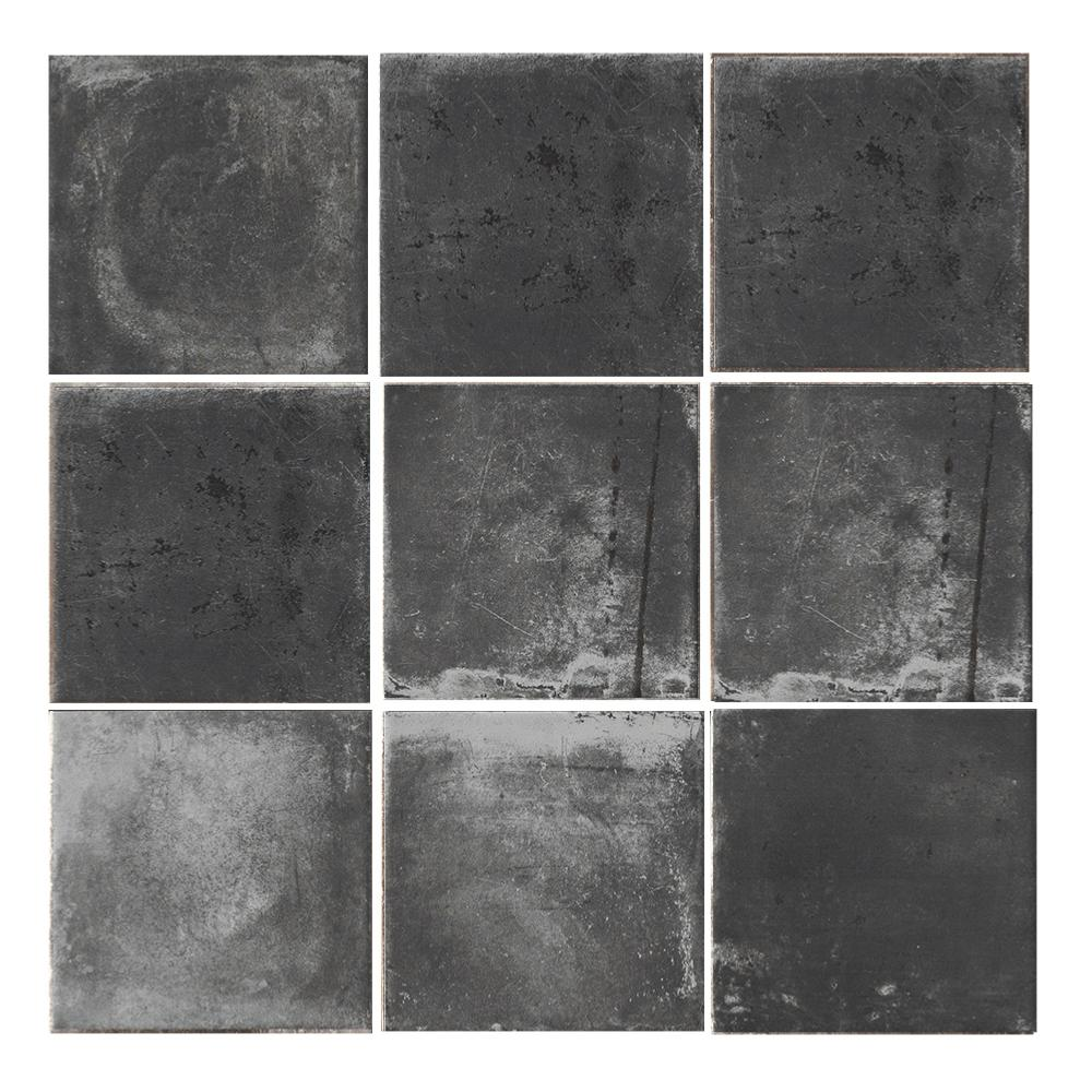 Carrelage mural effet carreaux de ciment 10x20 Pitch Black Nat, collection Miami Cir
