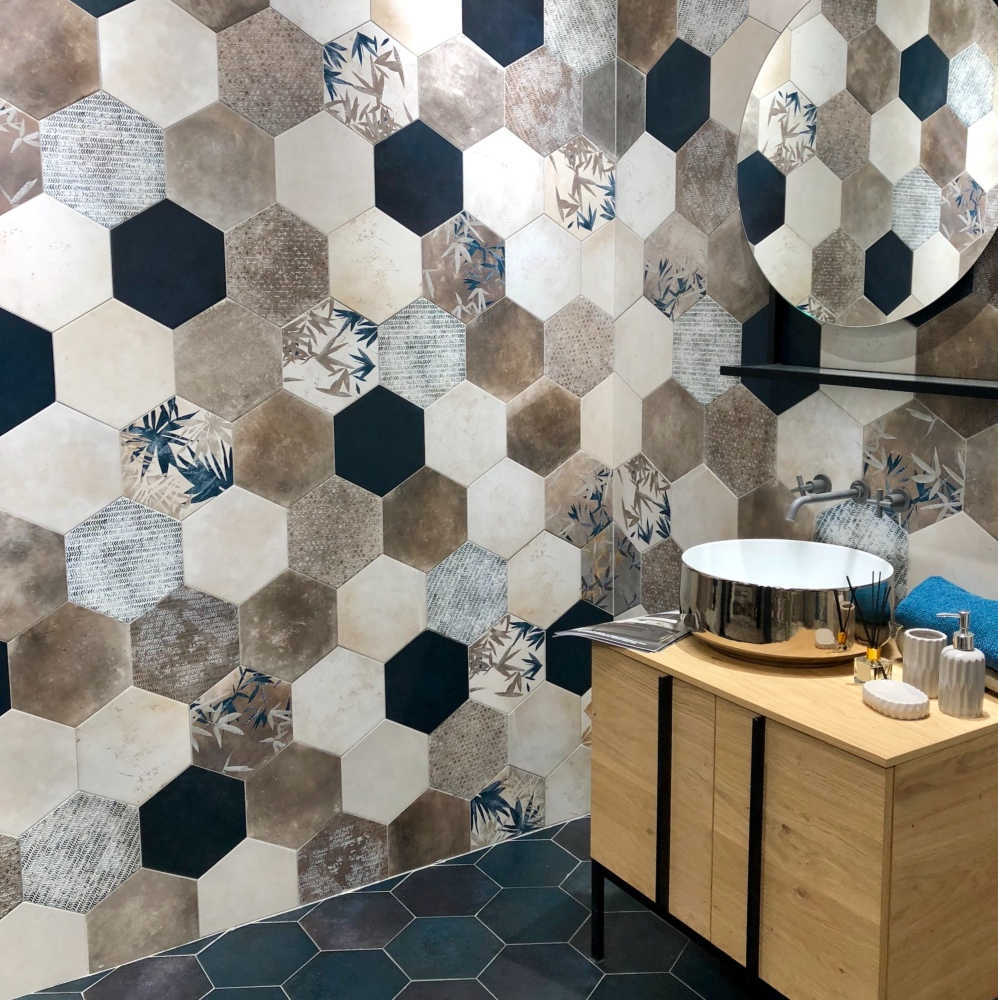 Carrelage hexagonal imitation carreaux de ciment 24x27,7 Florida Blue Naturel, collection Miami Cir