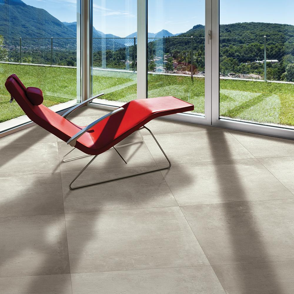 Carrelage ext rieur effet b ton 60x60 greige grip rectifi for Carrelage rectifie 60x60