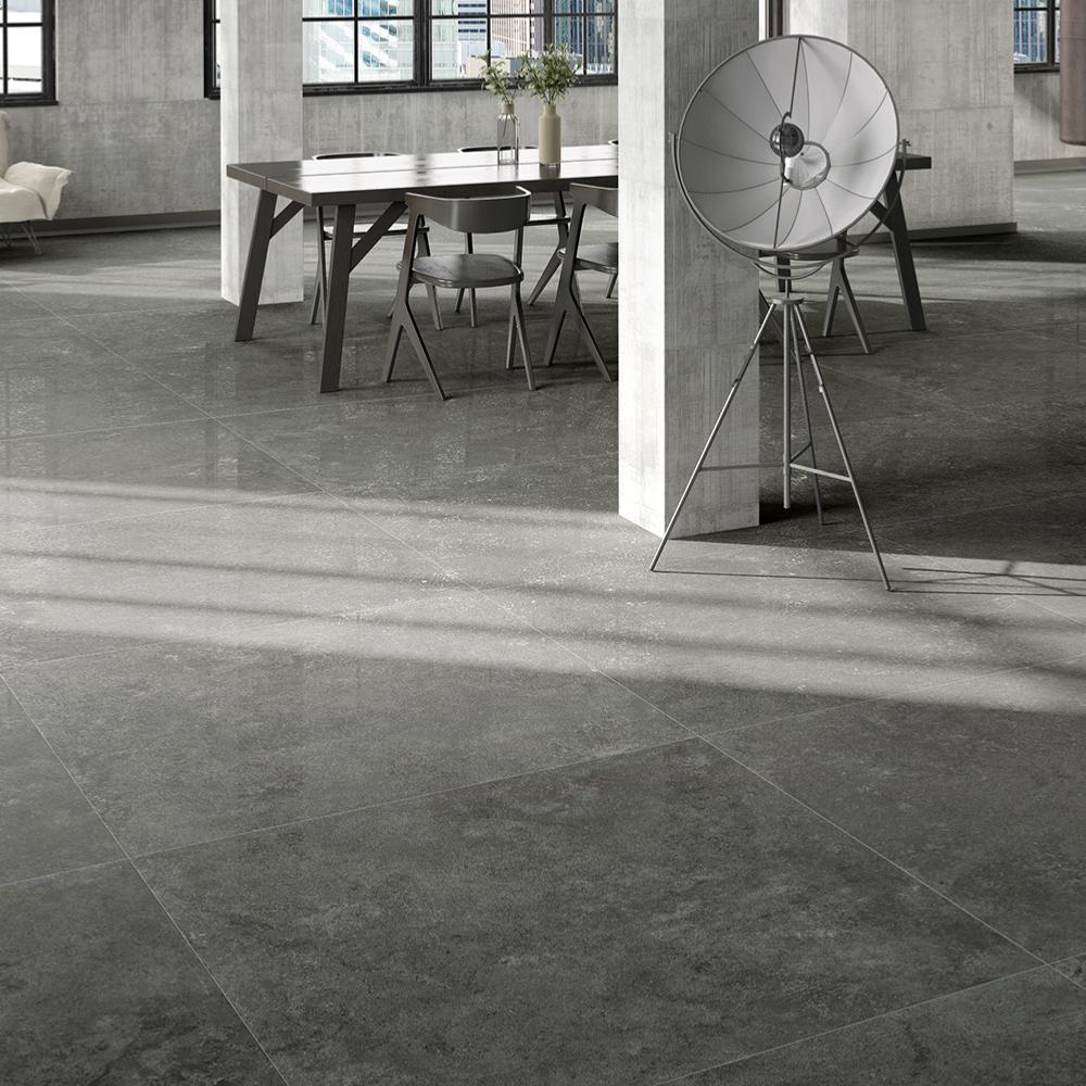 Carrelage sol effet pierre 60x60 Anthracite Lappato Rectifié, collection Glam Century