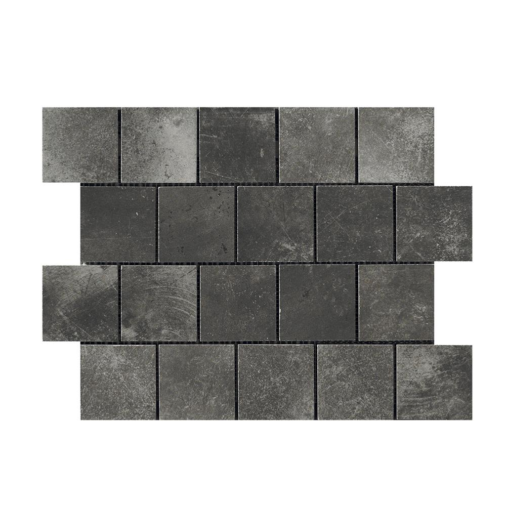 Mosaïque effet ciment salle de bain 30x40 Pitch Black Naturel, collection Miami Cir