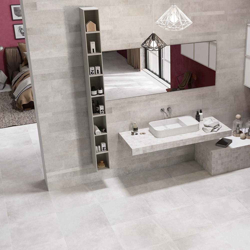 Mosa que effet b ton 30x30 white rectifi collection - Effet beton salle de bain ...