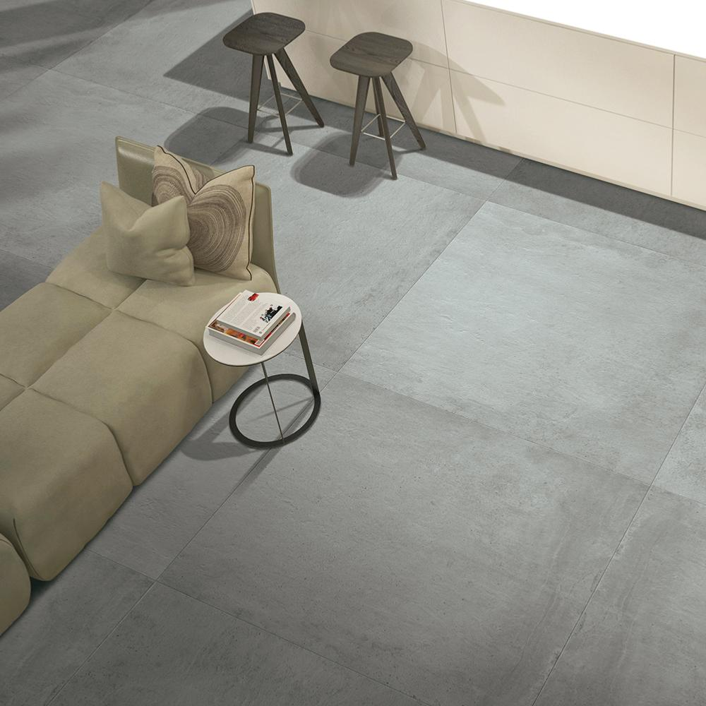 Carrelage Grand Format Effet Beton Gris 100x100 Dust Naturel